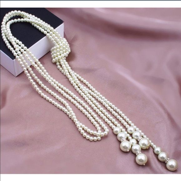 Preorder! Multi Strand Faux Pearl Knitted Necklace! Jewelry Necklaces