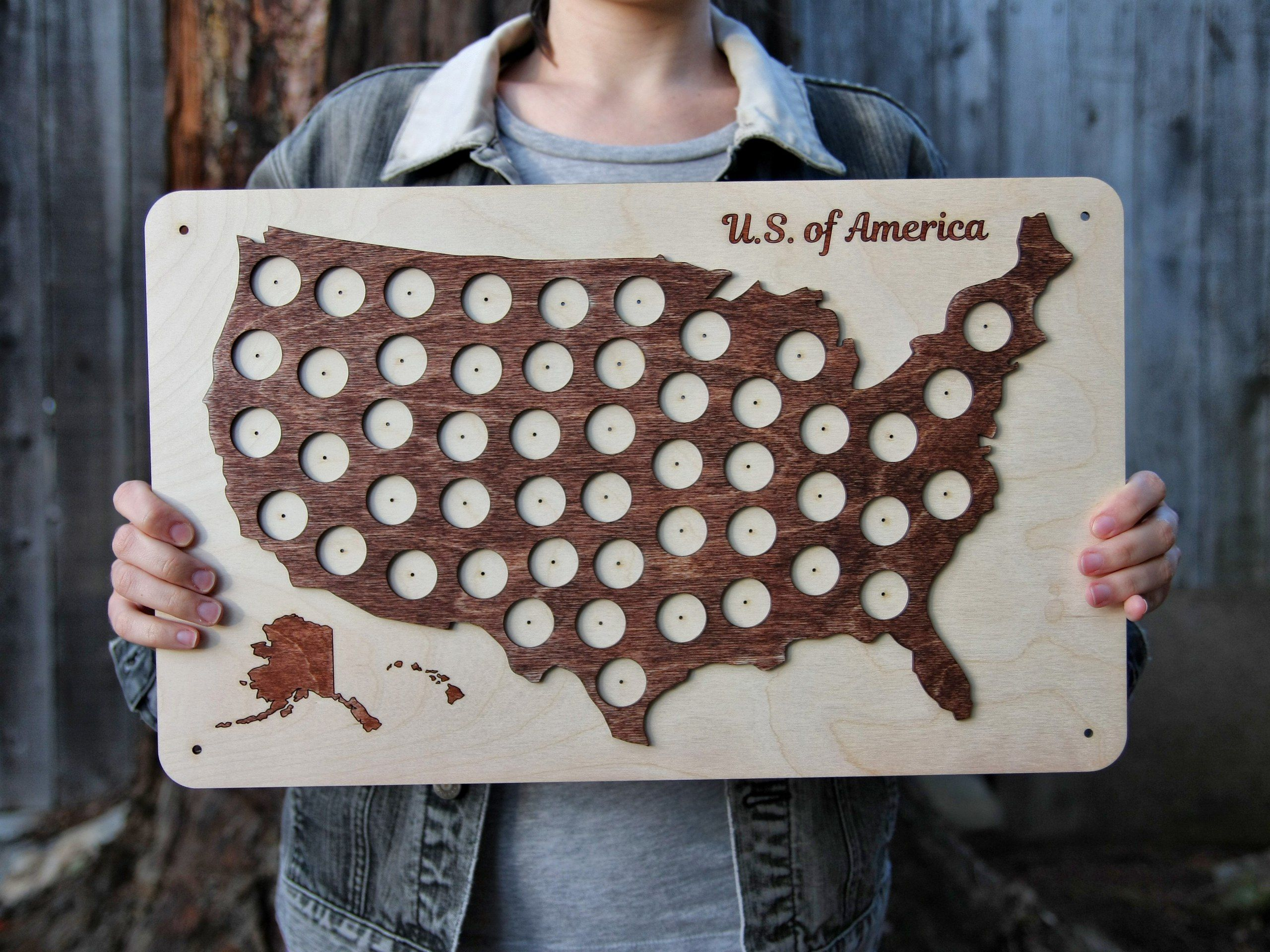$40 50 State Quarter Wood Map, USA Coins Collection, Fifty States ...