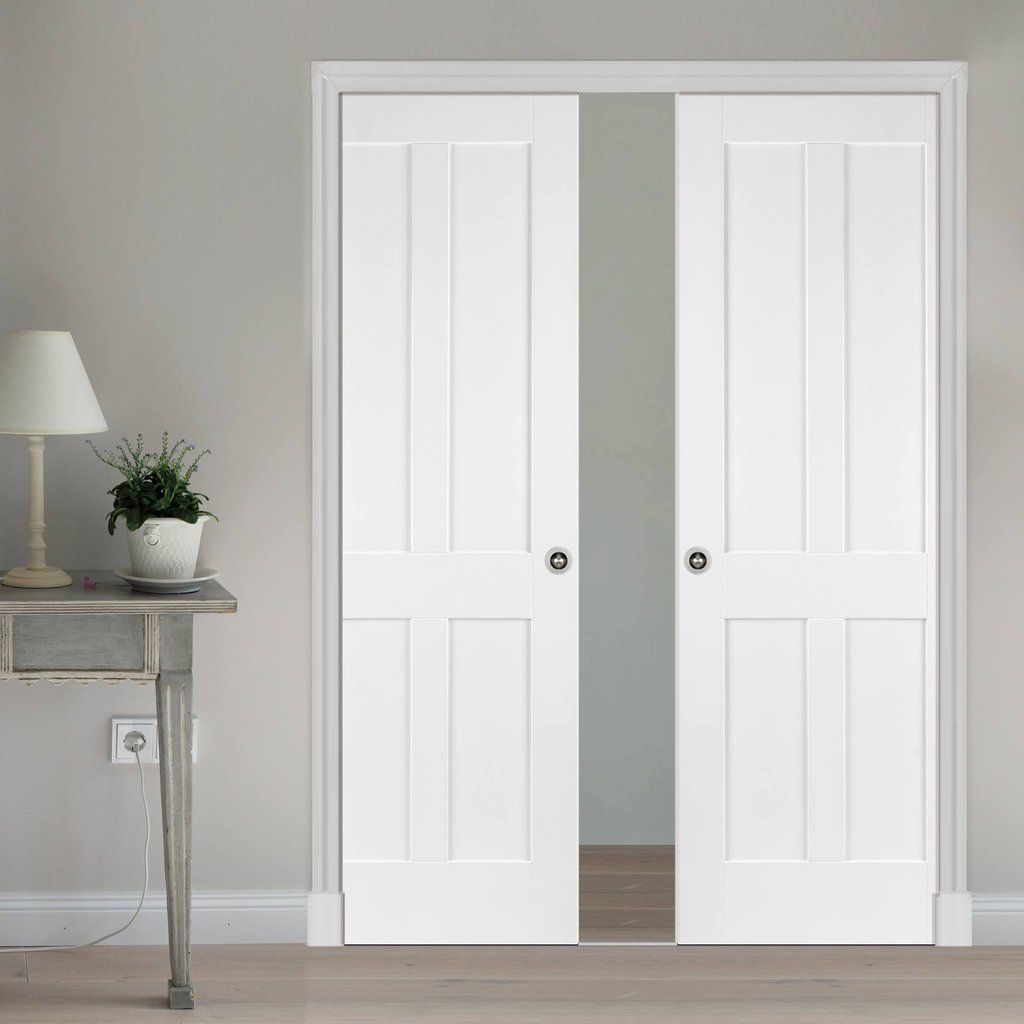 Superior Double Pocket Victorian Shaker 4 Panel Door   Primed. #pocketdoors  #whitepocketdoors #panelpocketdoors