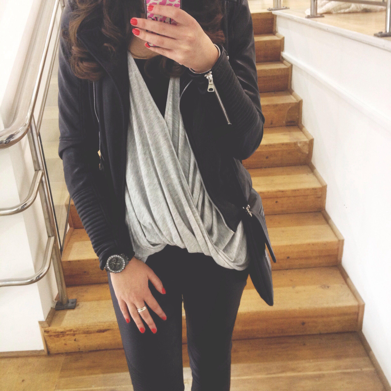 Leather jacket instagram - Leather Jacket Zara Drape Top Sportsgirl Instagram Corestylesydney