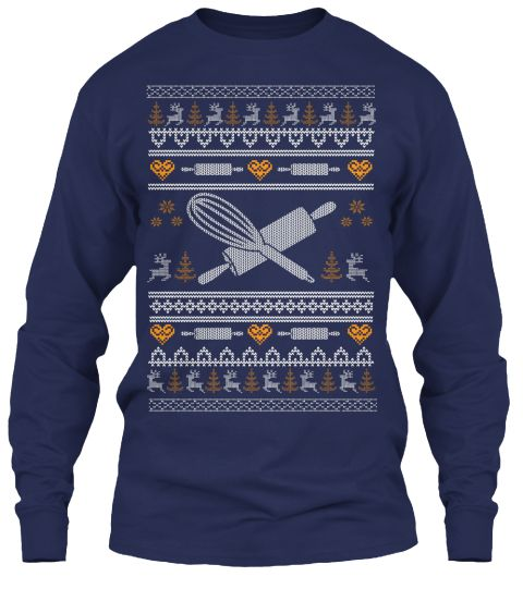 Baking Christmas Sweater Navy Long Sleeve T-Shirt Front