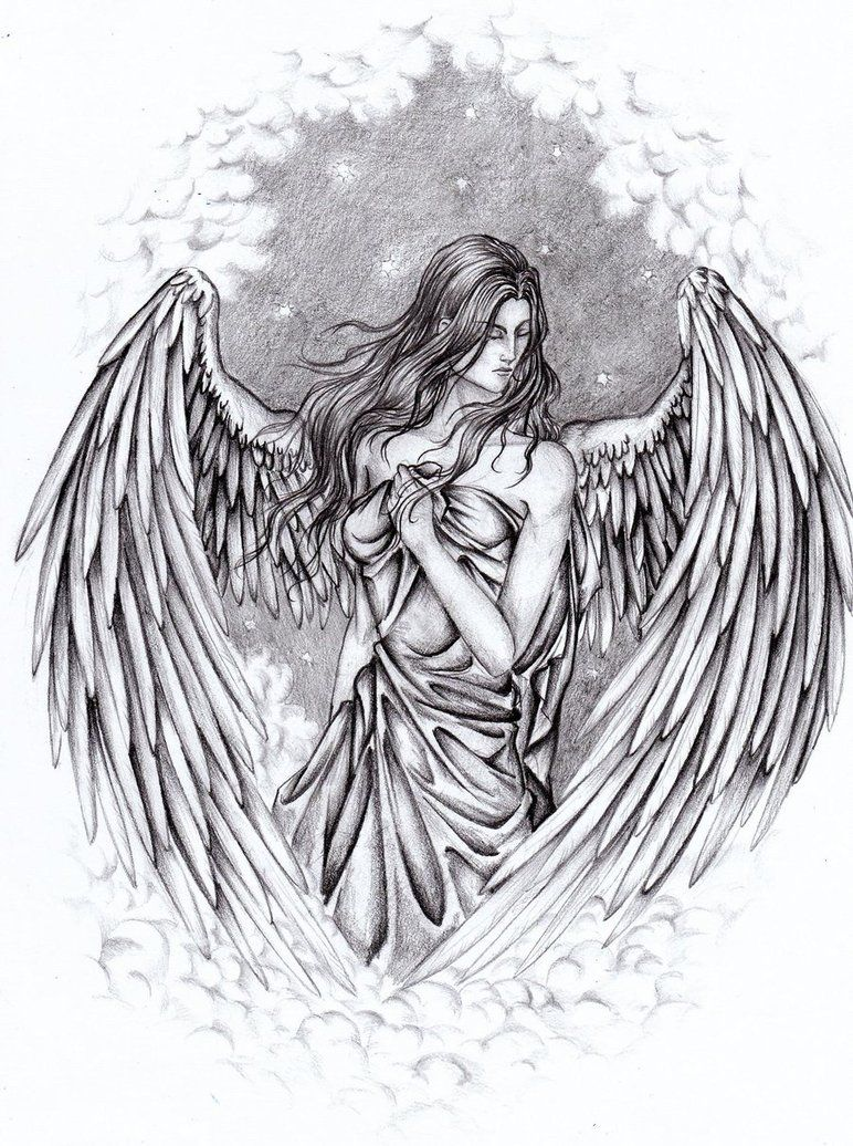 Pencil drawings of guardian angels angel by yazoolovrec on deviantart