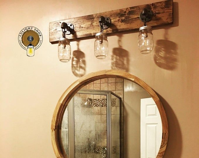 Light Whitewash Bathroom Mirror And Mason Jar Light Set Etsy