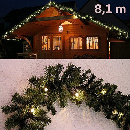 girlande gr n 8 1 m mit 120 led beleuchtet tannengirlande weihnachten au en von gartenpirat. Black Bedroom Furniture Sets. Home Design Ideas