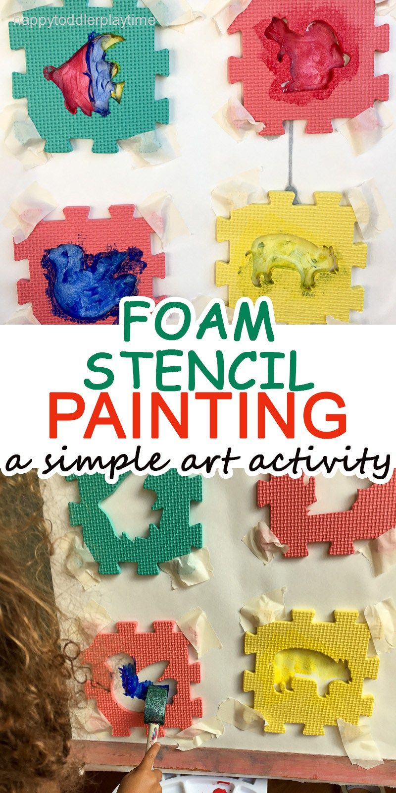 Foam Stencil Painting Art Activities For Toddlers Arts And