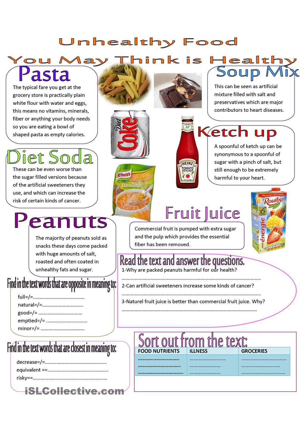 paragraph about healthy and unhealthy food