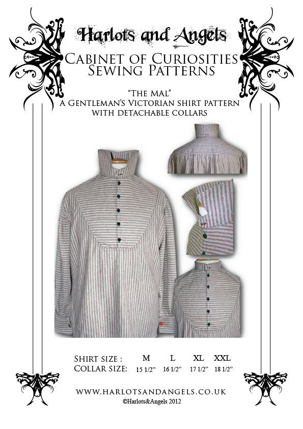 Steampunk Victorian Men\'s Shirt with detachable collar Paper sewing ...