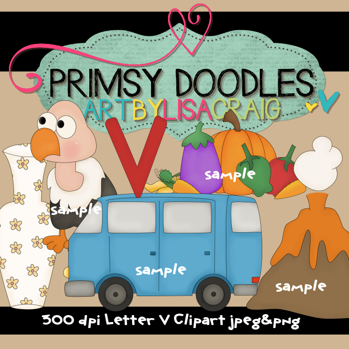 Cute new collection of letter V clipart. Includes a