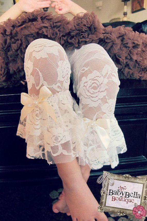 100402e669934 Baby Girls cream/Ivory lace ruffle leggings. | Baby Nash | Pinterest ...