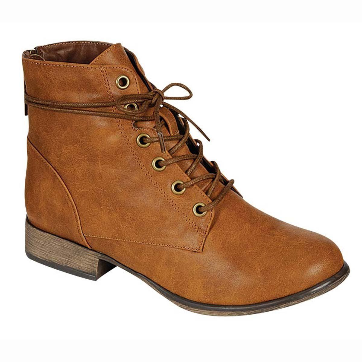eebf387cd0581 Breckelles Women's Georgia-43 Faux Leather Ankle High Lace Up Combat Boots