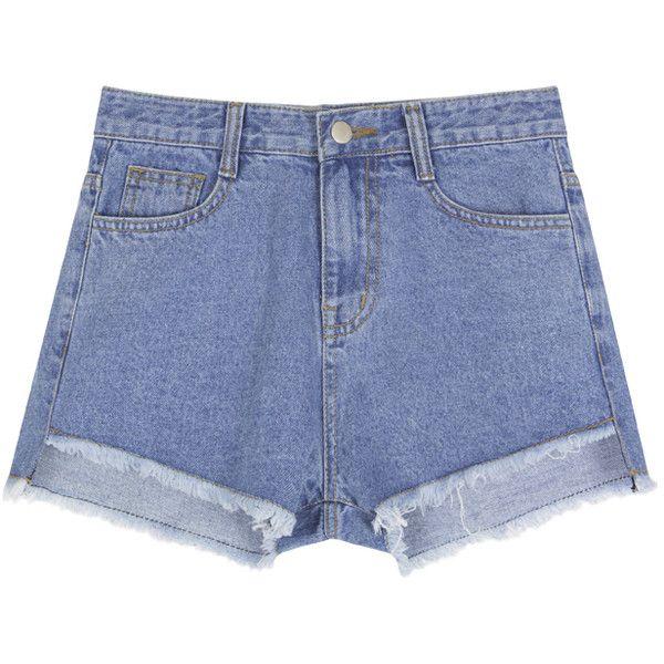 BAUHAUSHigh-Low Frayed Hem Denim Shorts   MIXXMIX (€24) ❤ liked on Polyvore featuring shorts, short jean shorts, high rise jean shorts, high-rise shorts, high-waisted denim shorts and high-waisted jean shorts