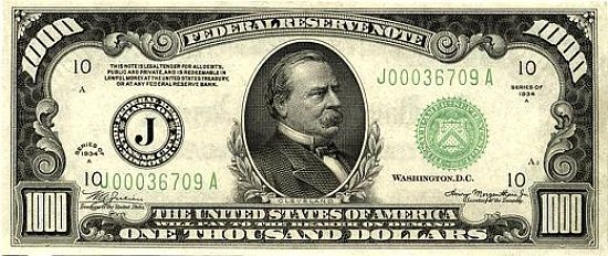 Us 1000 Note Grover Cleveland The Dollar Bill