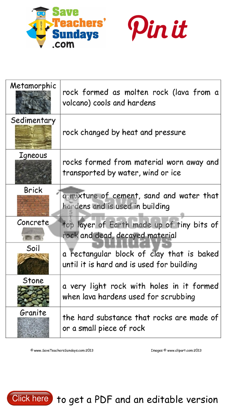 worksheet Types Of Rocks Worksheet types of rocks lesson plan go to httpwww saveteacherssundays match rock and their definitions go