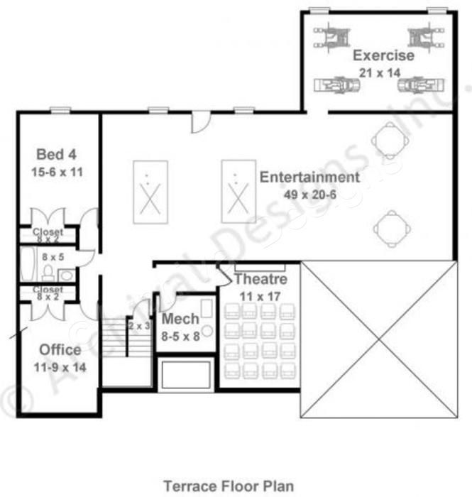 Mystic lane retirement house plan ranch floor plan for Basement finishing floor plans