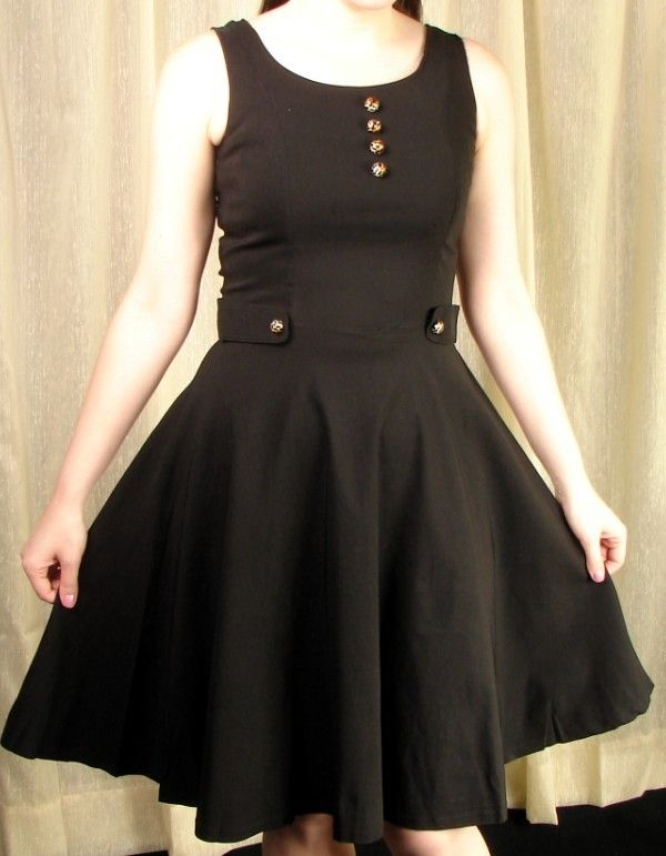 Meow Button Black Swing Dress