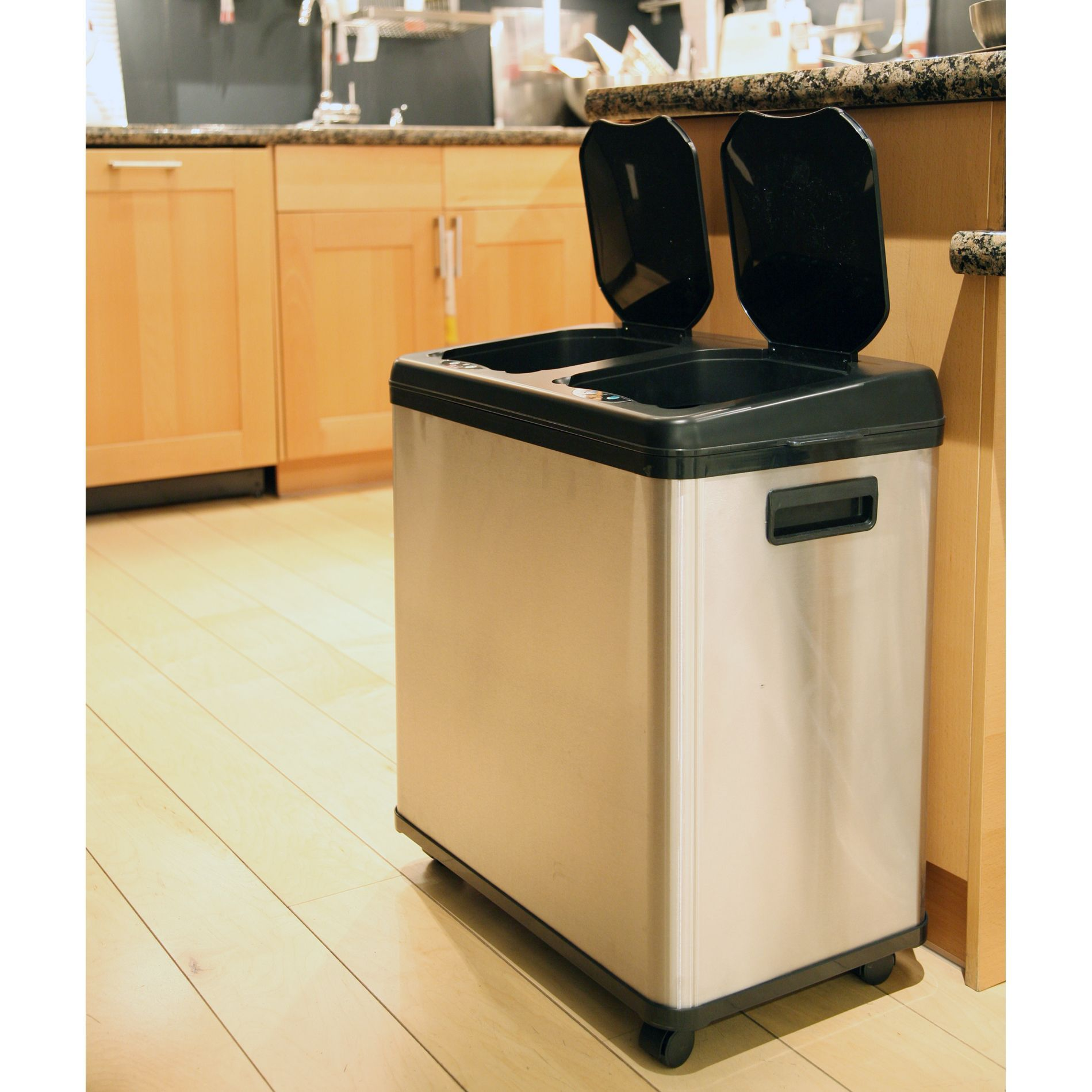 Kitchen Trash Can Dimensions And Bathroom Itouchless Stainless Steel Dual Compartment Touchless