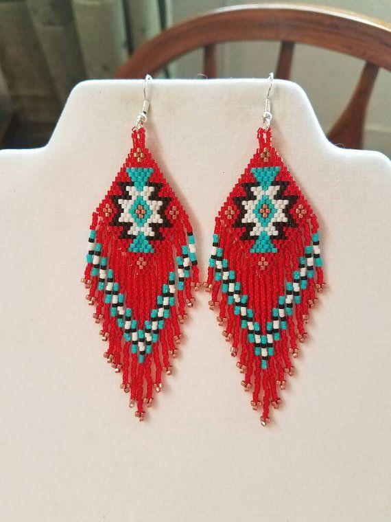 Native American Style Beaded Rug Earrings Black White Red