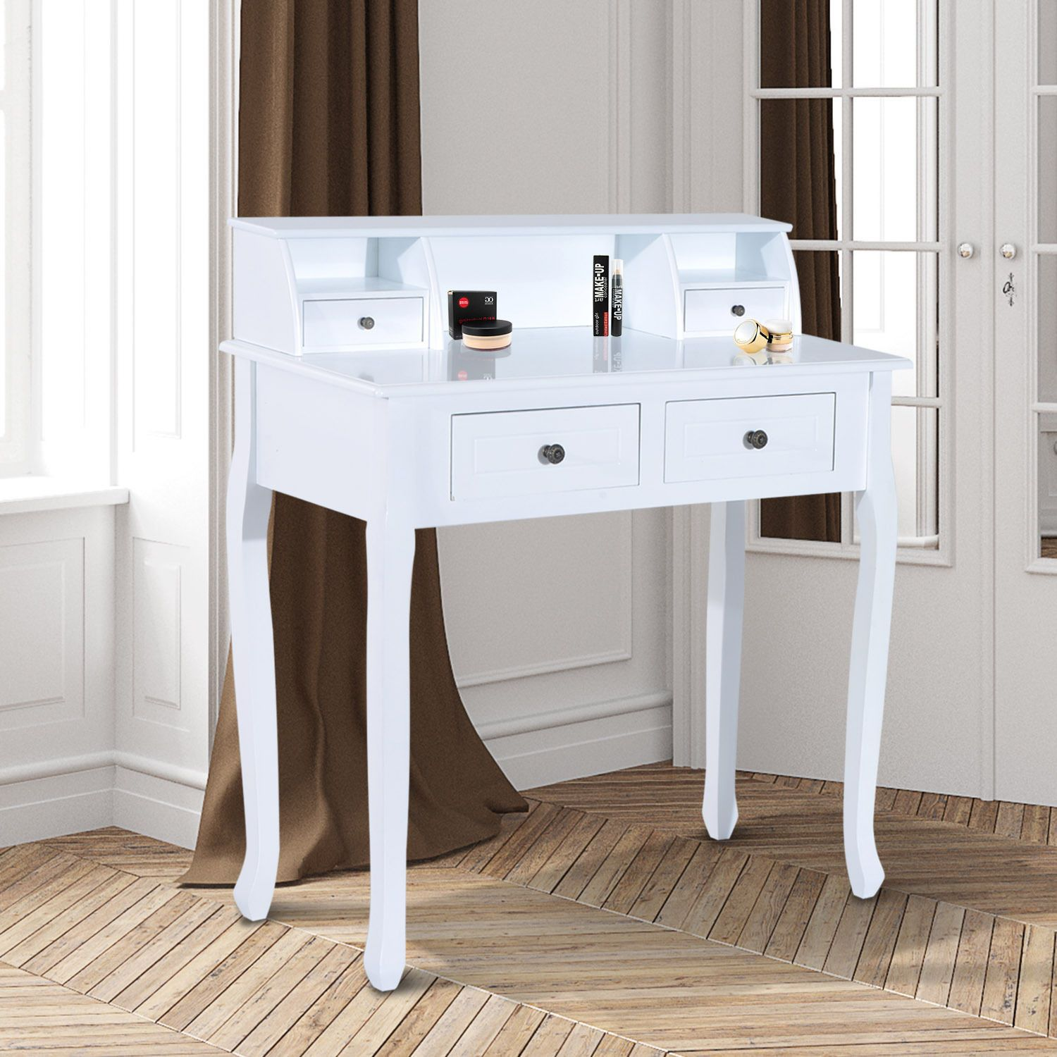 Dressing Table Chic Vanity MakeUp Desk with 4