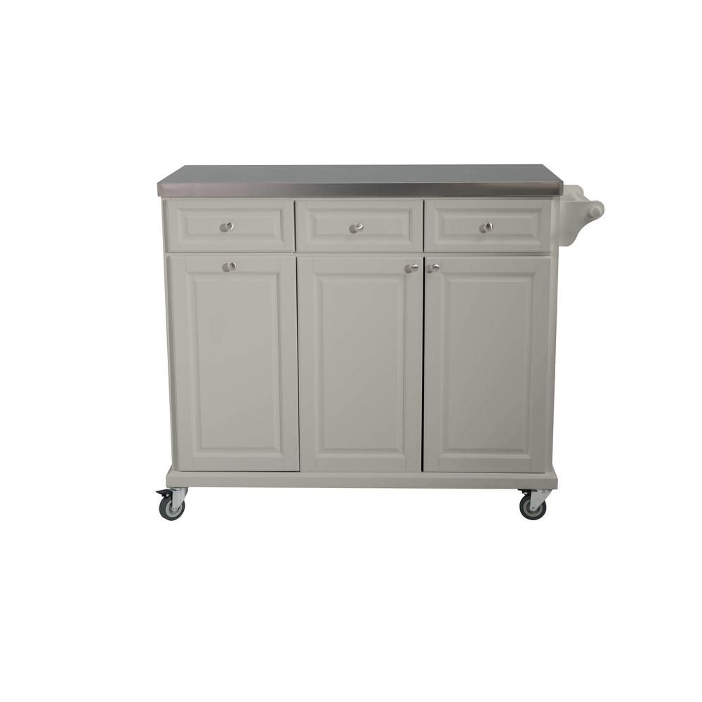 Sunjoy Buckleigh Movable Kitchen Island Cart With Stainless Steel Top And Storage In Gray In 2020 Kitchen Island Cart Portable Kitchen Island Kitchen Cart