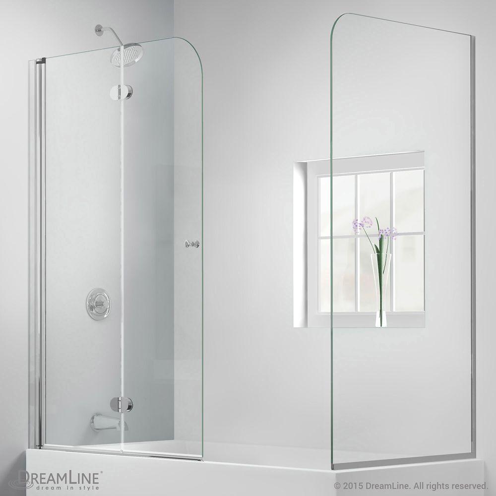 Aqua Fold 56 Inch To 60 Inch X 58 Inch Semi Frameless Hinged Tub Door With Return Panel In Chrome In 2020 Tub Bathtub Enclosures Small Bathroom
