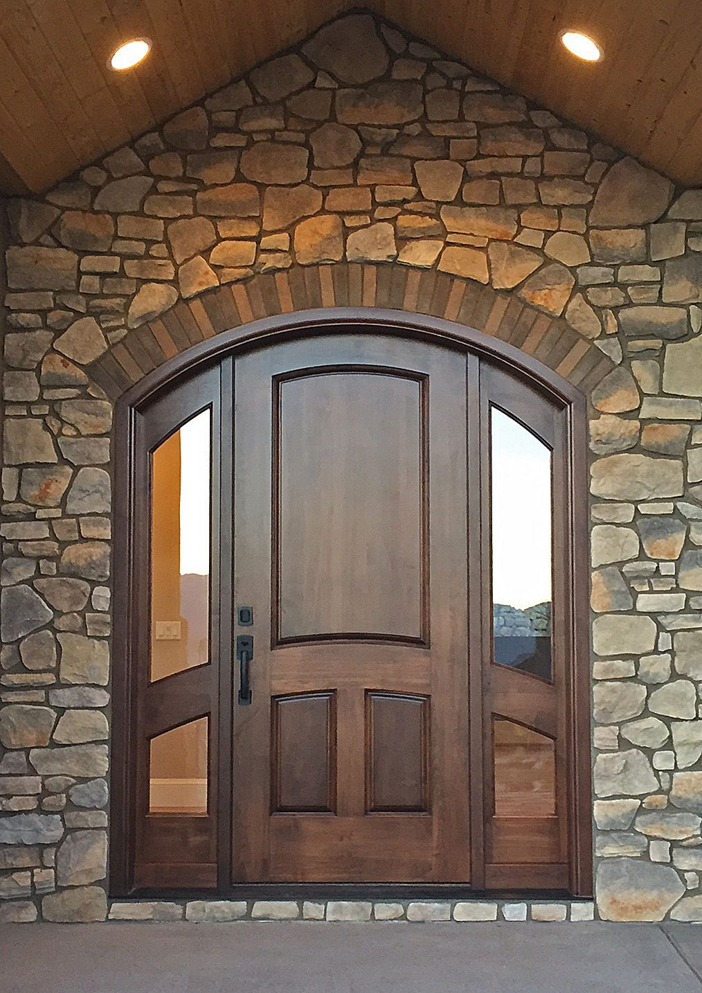 Stunning Arched Door Unit With Sidelights In Select Alder   A Perfect Match  To This Entry