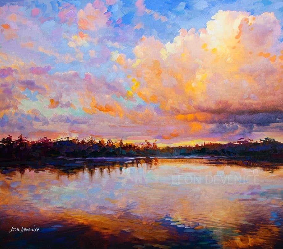 Paintings On Instagram Evening Grace Landscape Painting On Canvas 30 X 30 76 2 Cm X 76 Landscape Paintings Canvas Painting Landscape Landscape Art
