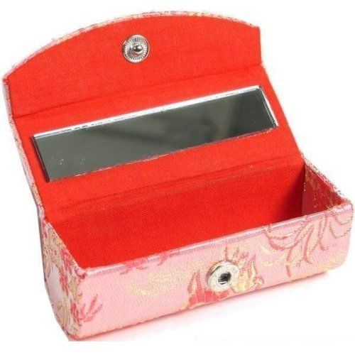 "Brocade Lipstick Case & Mirror Cosmetics Makeup Compact by FindingKing. $7.99. Brocade Lipstick Case for Storing Lipstick. This is a new brocade lipstick case. Great for storing lipstick. Comes with a mirror. It measures approximately 3 3/8"" x 1 3/8"" x 1 1/4"" (85 x 35 x 31 mm)."
