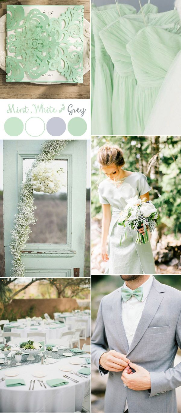 Mint Green White And Grey Wedding Colors Invitations