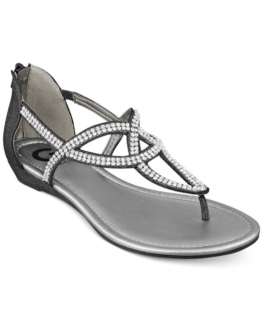 002000da145d6 G by Guess Women s Jamila Rhinestone Flat Thong Sandals