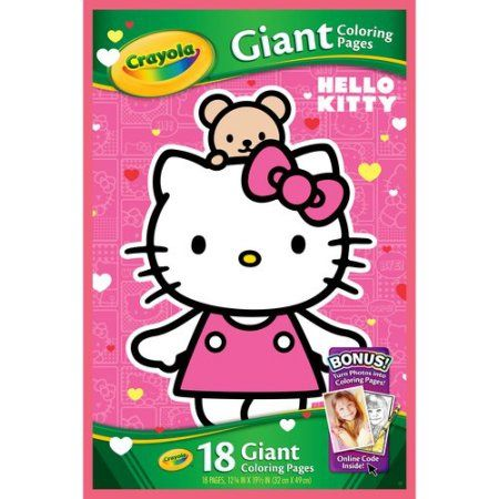 Crayola Giant Coloring Pages Featuring Hello Kitty 18 Count Walmart Com Hello Kitty Crayola Coloring Pages