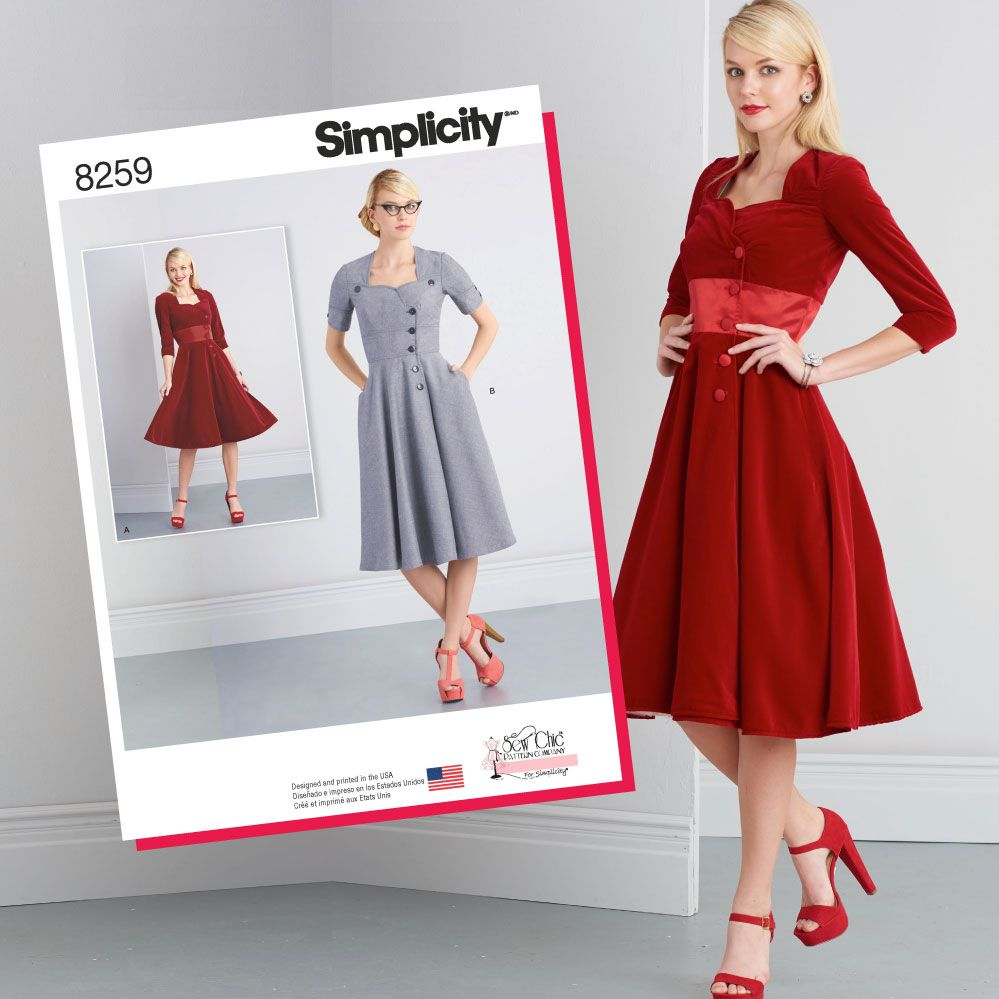 S8259 Misses\' Sew Chic Button Front Dresses   Simplicity sewing ...