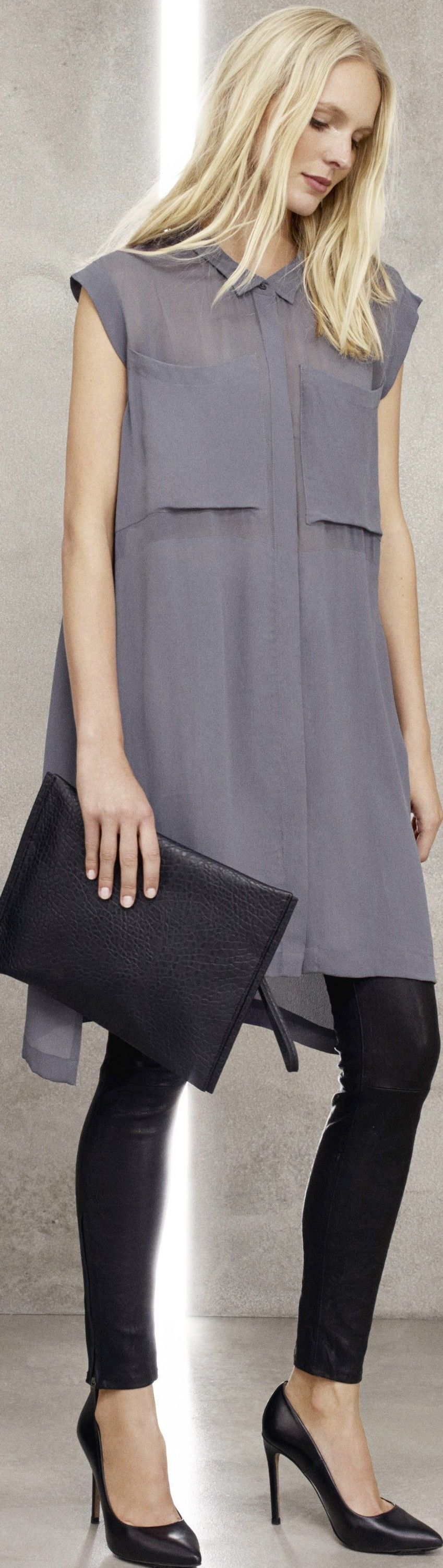 latest fashion trend  grey outfit for women  tunic top