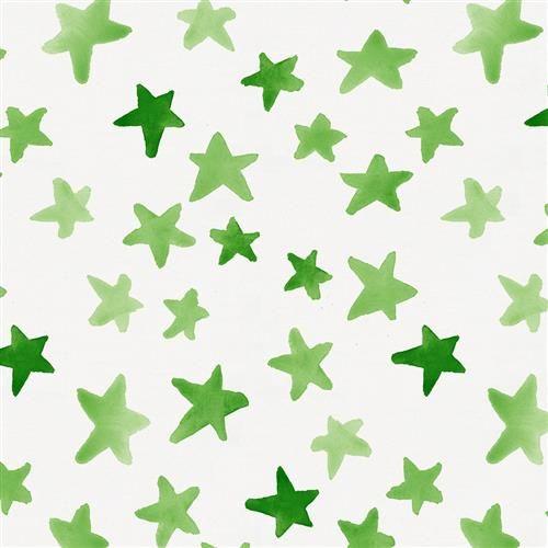 Green Watercolor Stars Fabric