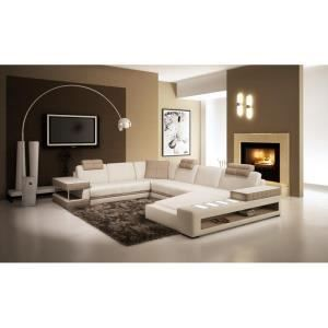 CANAPé D ANGLE PANORAMIQUE CUIR BLANC TAUPE RIO Achat Vente