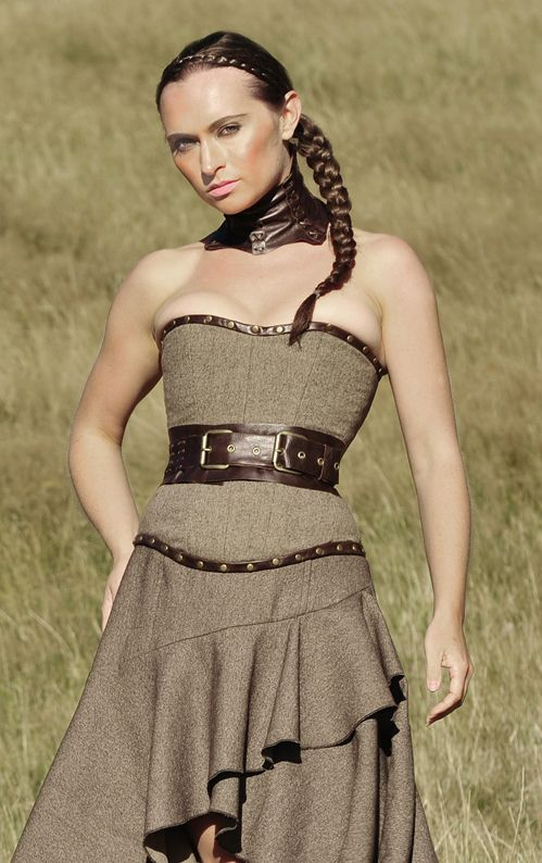 Steampunk Corset With Collar By Forge Fashion Model