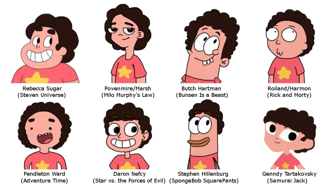 Steven In 8 Different Styles By Finnjr63 Steven Universe Fanart Steven Cartoon Styles