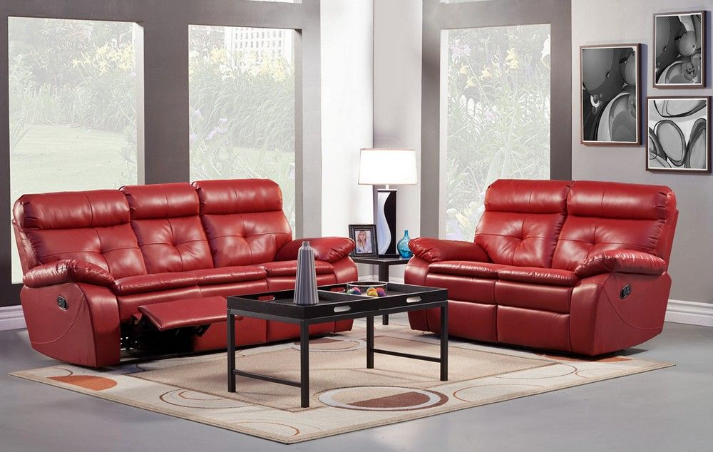 Sleeper Sofas Wallace Red Leather Recliner Sofa