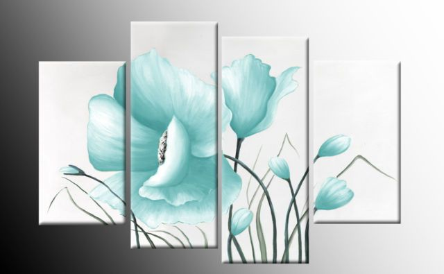 Blue Canvas Wall Art blue canvas wall art | duck egg blue large poppy with buds in 4