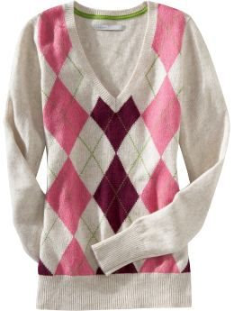 Women's Clothes: Women's Patterned V-Neck Sweaters: Long-Sleeve ...