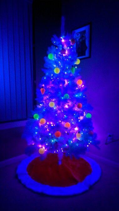Blacklight Christmas tree. 2 blacklights (just outside camera view ...