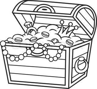 320x292 Cartoon treasure chest. Vector clip art