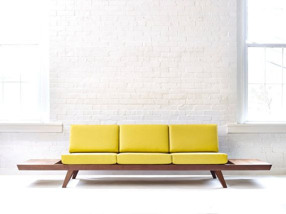Handmade Solid Wood Walnut Sofa Midcentury Modern Style Couch With Ottoman Side Tables And Custom Upholstery Furniture Modern Couch Modern Sofa
