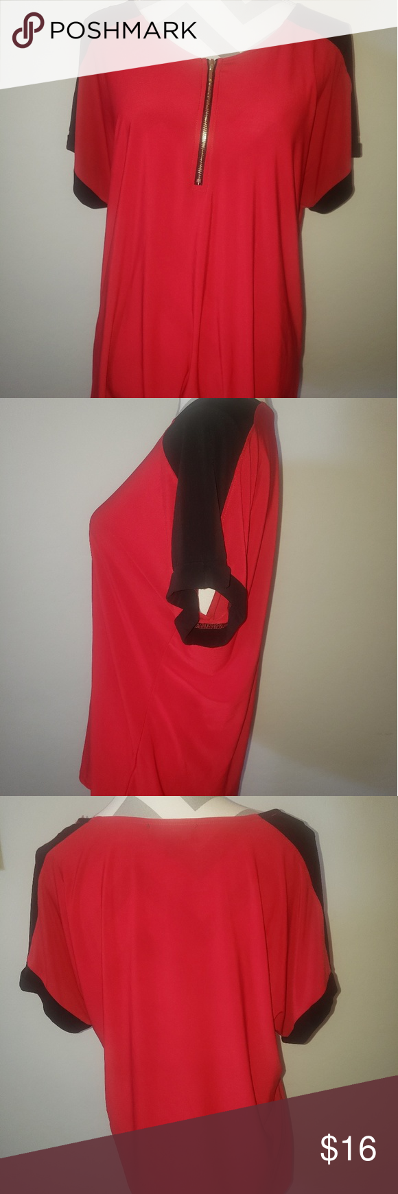 NAiF red top with black sleeves and zip front NAiF red top with black sleeve and front 1/4 zipper accent. Color block on trend top is versatile and ca…