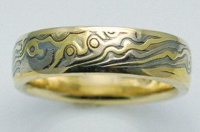 Mokume Gane ring made with 14k white gold, 18k yellow gold, and sterling silver.