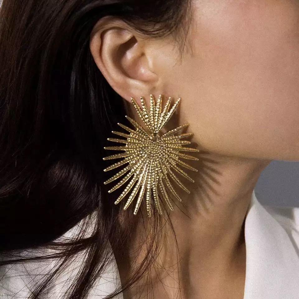 Gold Sunburst Bold Earrings