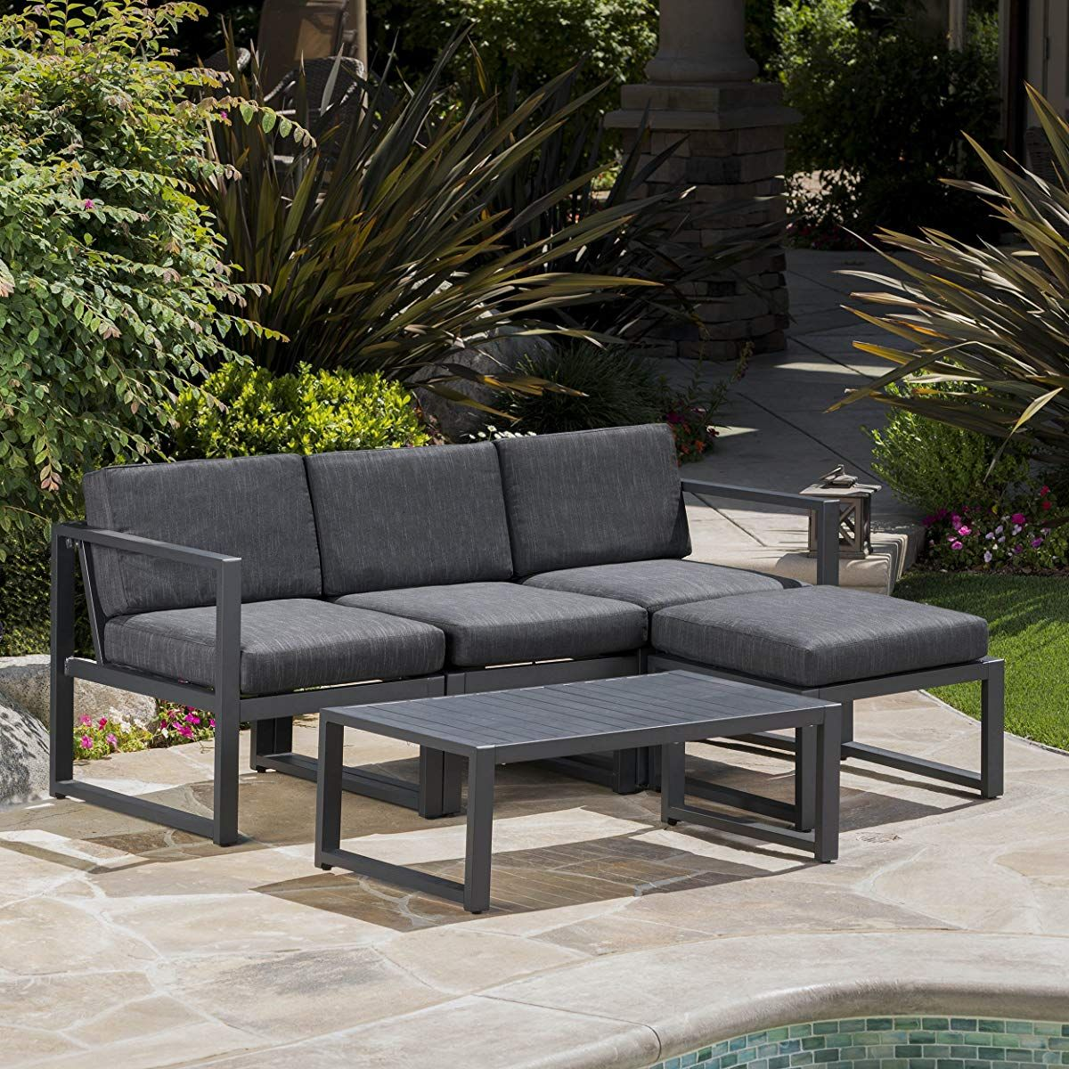 Nealie Patio Furniture 5 Piece Outdoor Aluminum Sofa Set Dark Grey Patio Furniture Sets Outdoor Seating Set Conversation Set Patio