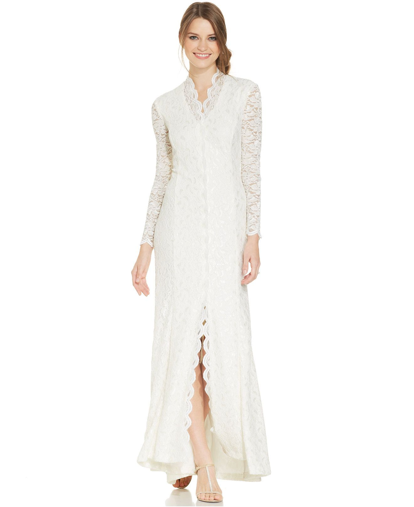 Alex Evenings Long-Sleeve Scalloped Lace Gown - Wedding Day - Women ...