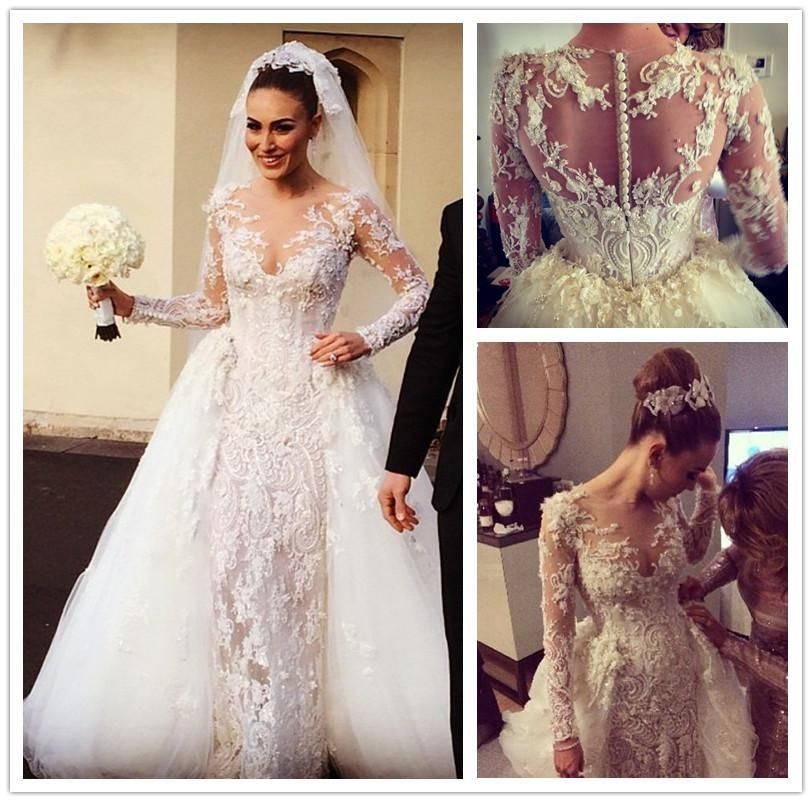 Gorgeous Lace Applique Sheath Wedding Dresses Beads Pearls Sequins Sheer Jewel Neck Long Sleeves Detachable Train