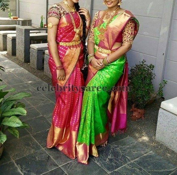 South Indian Women Silk Sarees