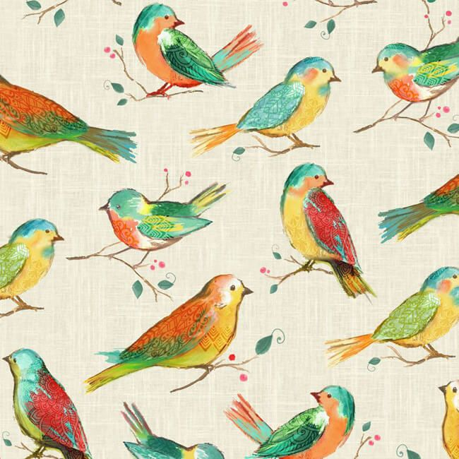 All a Twitter Birds Hoffman Fabric Digital Print Multiple Sizes Cotton